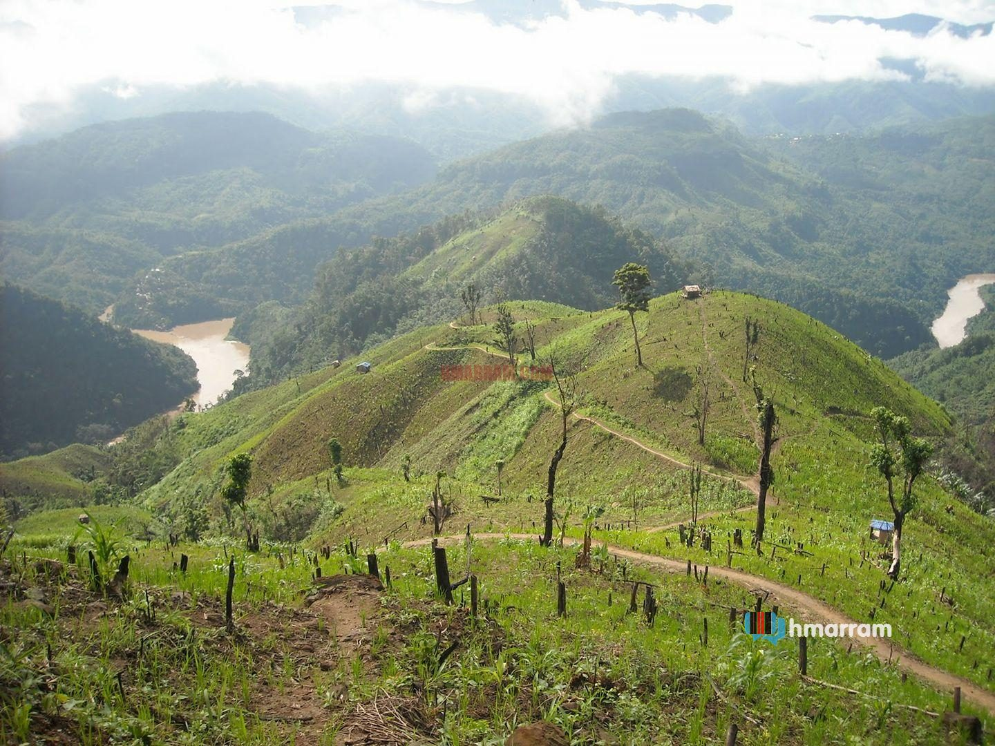 A jhum field in near Tuiruong River (Barak) in Hmar Hills, Pherzawl District of Manipur.